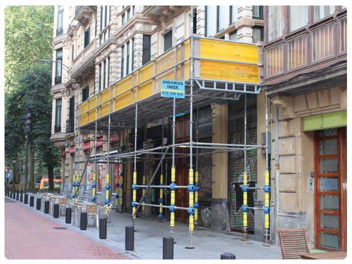 Protecciones Andamios INOX en Abando (Bilbao)